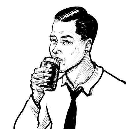 Man drinking beer from the can. Ink black and white drawing