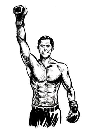 Boxing champion. Ink black and white drawing 스톡 콘텐츠