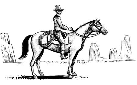Cowboy riding a horse in the desert. Ink black and white drawing