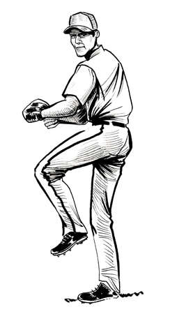 Baseball player throwing a ball. Ink black and white drawing