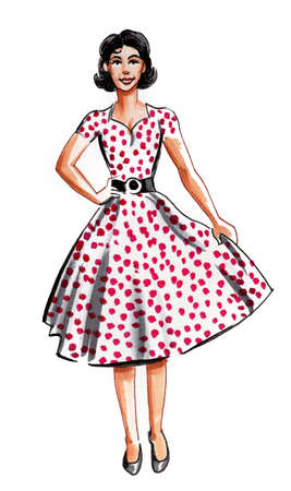 Pretty woman in Polka dots vintage dress. Ink and watercolor drawing 스톡 콘텐츠