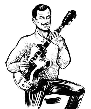 Male musician playing acoustic guitar. Ink black and white drawing