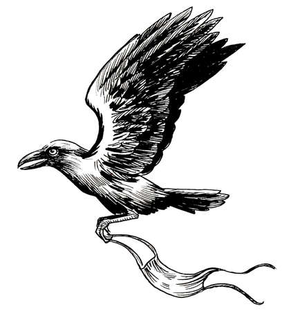 Flying crow carries medical mask. Ink black and white drawing