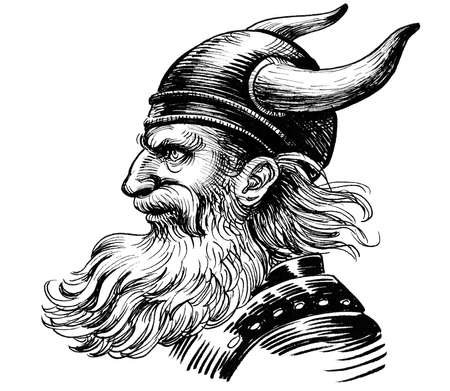 Viking warrior with horned helmet. Ink black and white drawing 스톡 콘텐츠