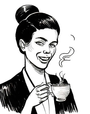 Girl with a cup of coffee. Ink black and white drawing