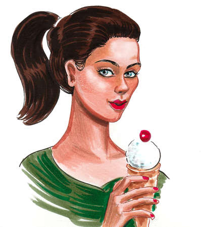 Pretty woman with an ice cream cone. Ink and watercolor drawing