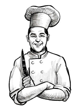 Happy smiling chef with a knife. Ink black and white drawing