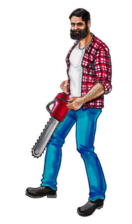 Canadian lumberjack with electrical chain saw. Ink and watercolor drawing