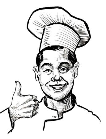 Happy smiling chef showing big thumb. Ink black and white drawing