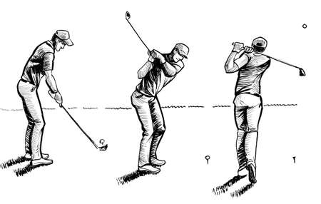 Swinging golfer on the course. Ink black and white drawing
