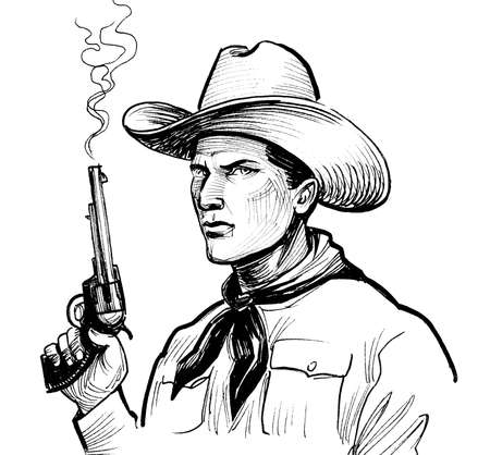 Cowboy character with a smoking revolver gun. Ink black and white drawing 스톡 콘텐츠