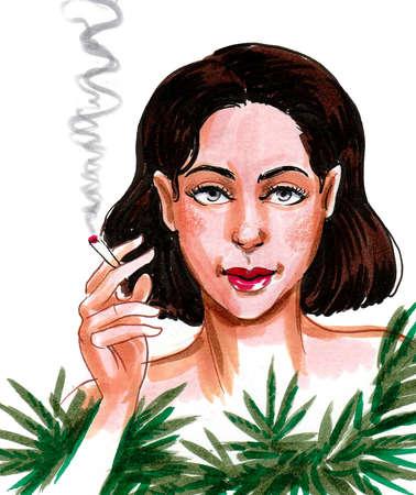 Girl smoking marijuana joint. Ink and watercolor drawing