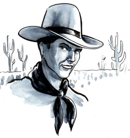 Cowboy character in Mexican desert. Ink and watercolor drawing 스톡 콘텐츠