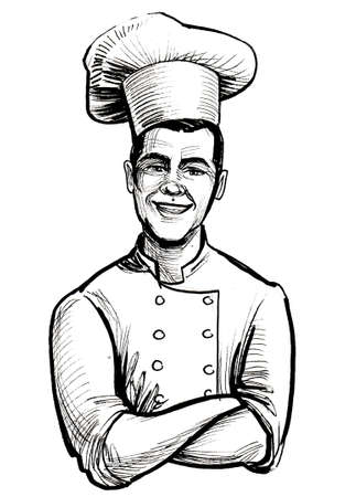 Happy smiling restaurant chef. Ink black and white drawing