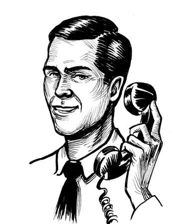Handsome man speaking over retro telephone. Ink black and white drawing
