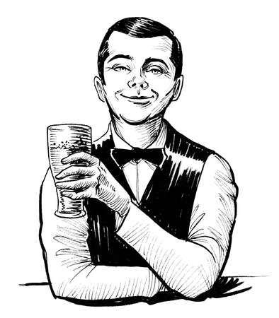 Happy smiling bartender with a glass of beer