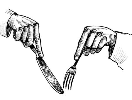 Hands with fork and knife. Ink black and white drawing 免版税图像
