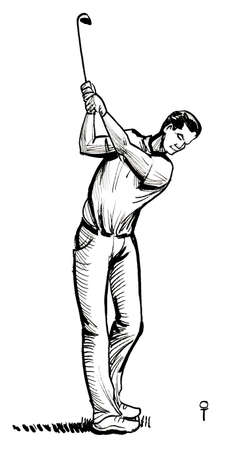 Golfer with club. Ink black and white drawing 스톡 콘텐츠