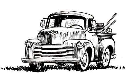 Vintage American truck. Ink black and white drawing 版權商用圖片