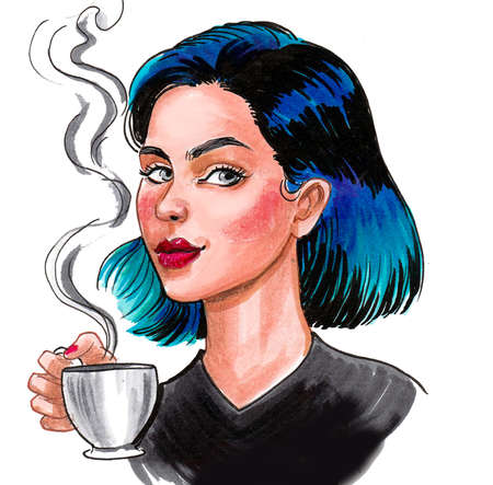 Pretty woman with a cup of coffee. Ink and watercolor drawing 스톡 콘텐츠