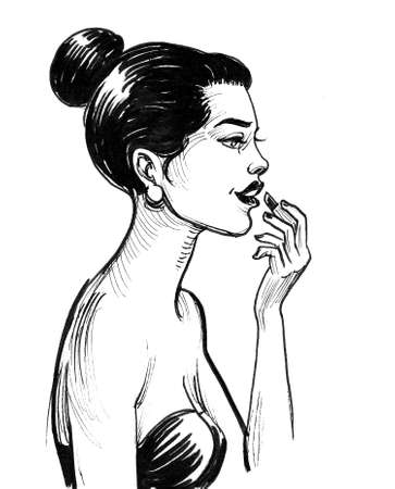 Pretty woman with a lipstick. Ink black and white drawing