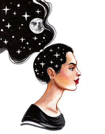 Pretty woman with a moon and starry sky in her black hair. Ink and watercolor drawing