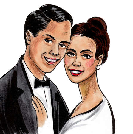Beautiful smiling couple. Ink and watercolor drawing