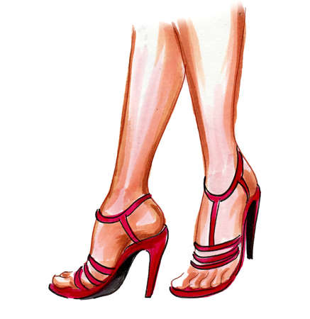 Female feet in high heel shoes. Ink and watercolor drawing