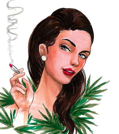 Pretty woman with s marijuana joint and cannabis leaves. Ink and watercolor drawing