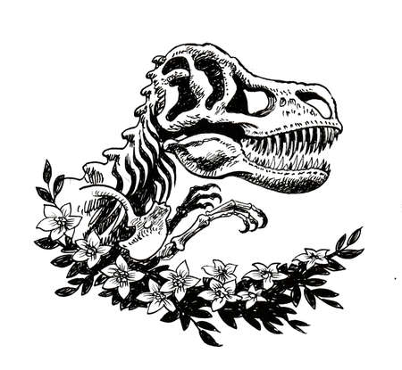 T-Rex skeleton and flowers. Ink black and white drawing