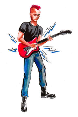 Punk rocker playing electric guitar. Ink and watercolor drawing Stockfoto