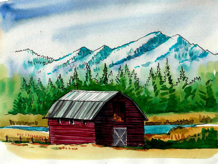Old barn in the mountain countryside. Ink and watercolor drawing