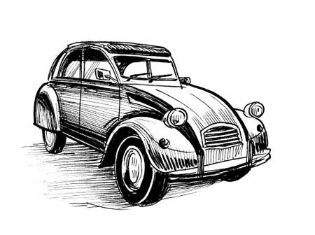 Vintage European car. Ink black and white drawing