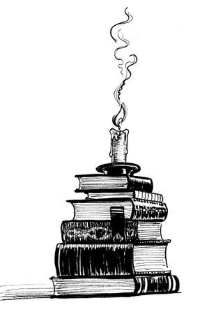 Pile of book and candle. Ink black and white drawing