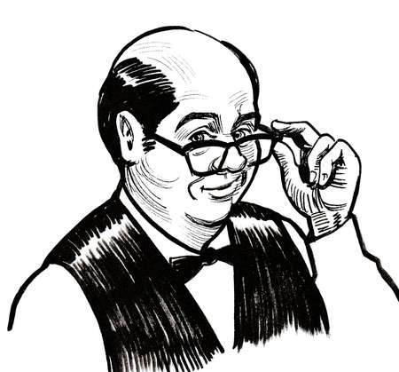 Bald accountant man looking over glasses. Ink black and white drawing