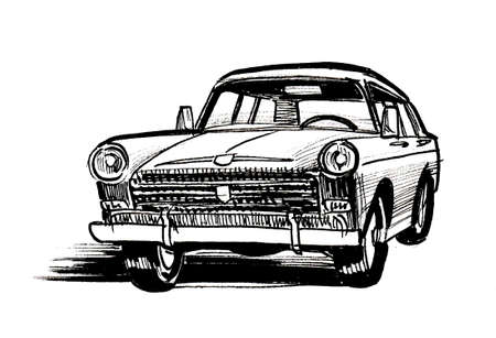 Vintage American automobile. Ink black and white drawing Stockfoto