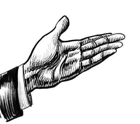 Hand pointing. Ink black and white drawing Stockfoto