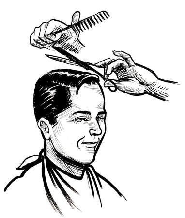 Barber cutting client's hair. Ink black and white drawing Stockfoto