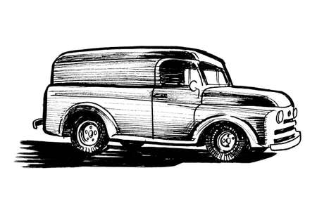 Retro truck. Ink black and white drawing Stockfoto