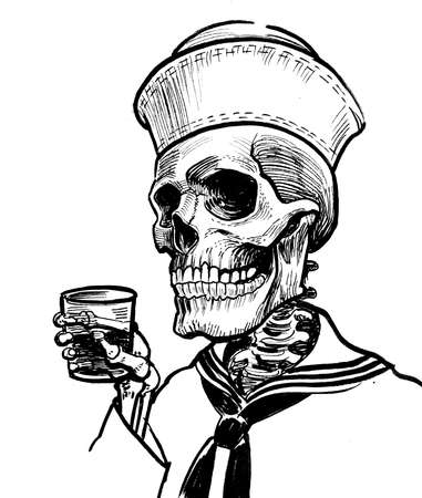 Dead sailor drinking rum. Ink black and white drawing