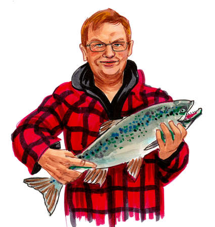 Gentleman with a salmon fish. Ink and watercolor drawing Stockfoto