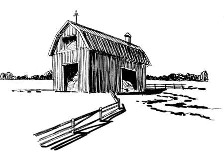 Old barn in the countryside. Ink black and white drawing