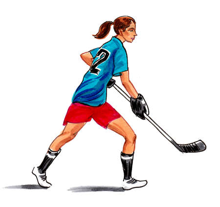 Pretty girl playing hockey. Ink and watercolor drawing