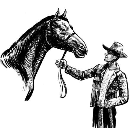 Cowboy with a horse. Ink black and white drawing