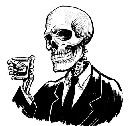 Human skeleton in suit drinking a glass of whiskey. Ink black and white drawing
