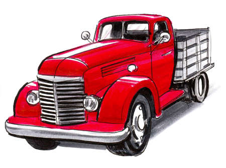 Red vintage truck. Ink and watercolor drawing Stockfoto
