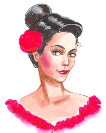 Pretty  Flamenco dancer with a red rose in her hair. Ink and watercolor drawing