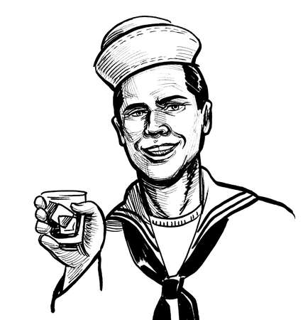 Smiling sailor drinking glass of rum. Ink black and white drawing