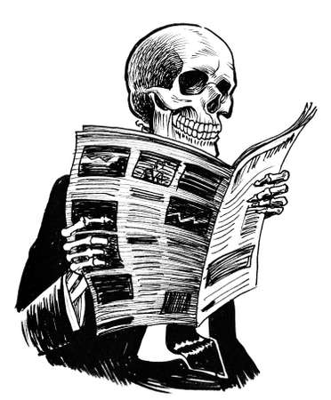 Human skeleton in suit reading a newspaper. Ink black and white drawing
