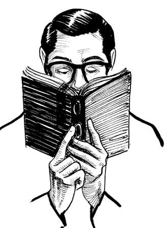 Gentleman in glasses reading a book. Ink black and white drawing